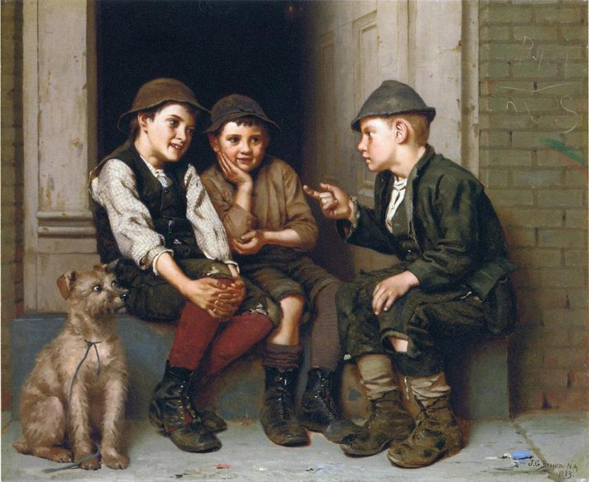 Trazado Travesura, óleo sobre lienzo de John George Brown (1831-1913, United Kingdom)
