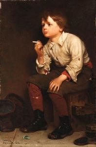 John George Brown - Shoeshine Boy fumadores