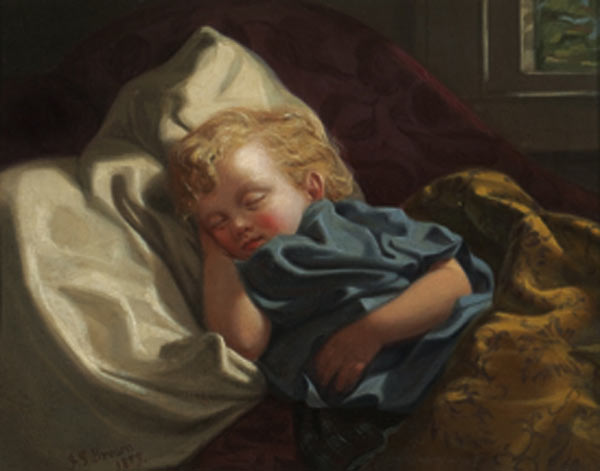 durmiendo ángel de John George Brown (1831-1913, United Kingdom) | WahooArt.com