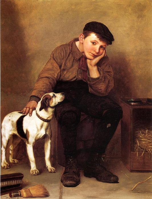 Simpatía, óleo sobre lienzo de John George Brown (1831-1913, United Kingdom)