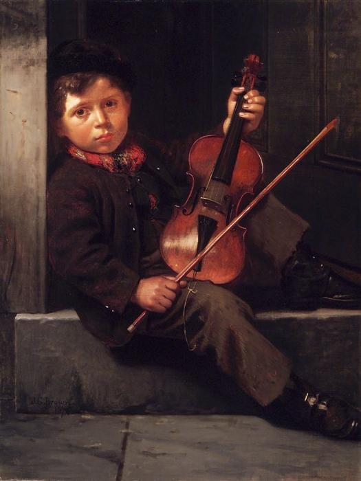 El niño violinista de John George Brown (1831-1913, United Kingdom)