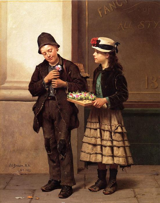 el flor chica, óleo sobre lienzo de John George Brown (1831-1913, United Kingdom)