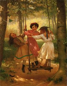 John George Brown - tres niñas en un `swing`
