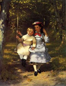 John George Brown - dos niñas en un `swing`
