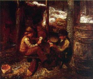 Jonathan Eastman Johnson - en el `maple` azúcar campamento