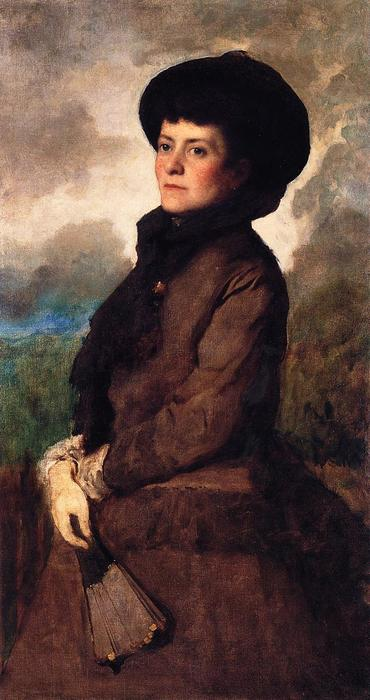 Ethel Eastman Johnson Conkling con ventilador de Jonathan Eastman Johnson (1824-1906, United Kingdom) | Copia De La Pintura | WahooArt.com