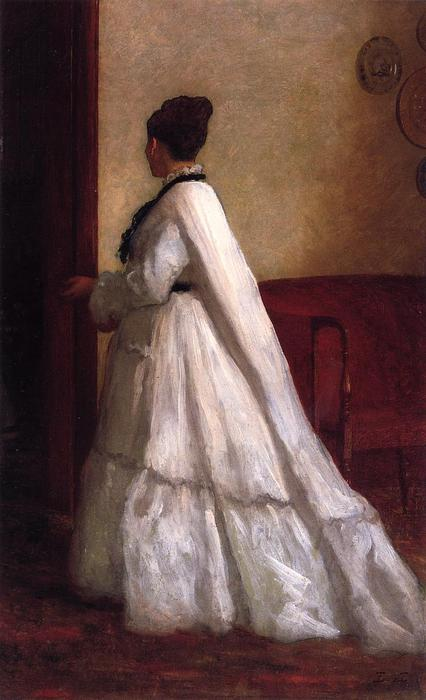 mujer en un blanco vestido de Jonathan Eastman Johnson (1824-1906, United Kingdom)