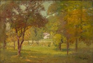Theodore Clement Steele - Paisaje y White Cottage