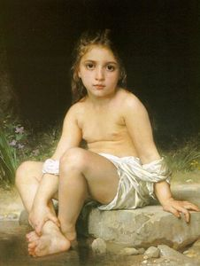 William Adolphe Bouguereau - niño de los casos baño