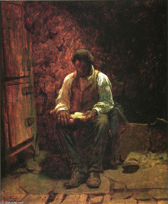 El Chimney Corner, oleo en panel de Jonathan Eastman Johnson (1824-1906, United Kingdom)