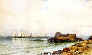 Alfred Thompson Bricher - Rocas costeras con Veleros