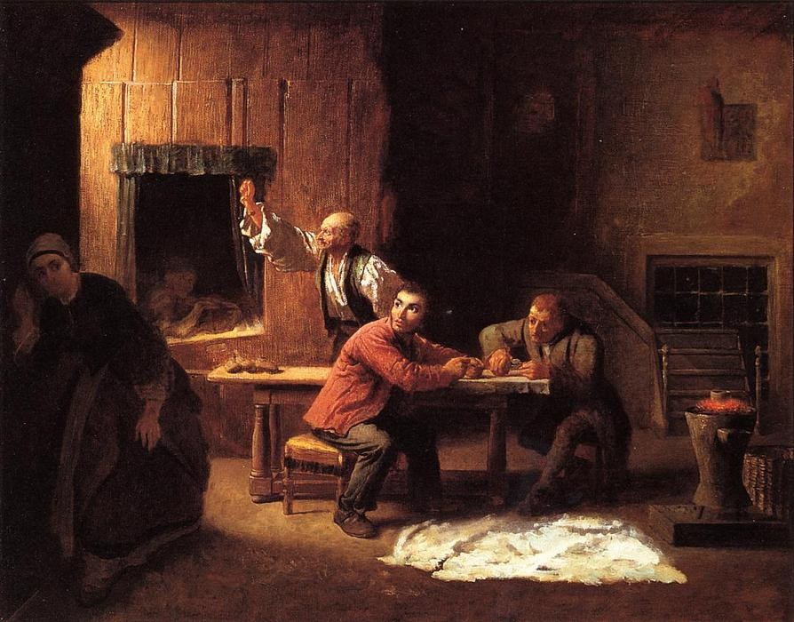 Los falsificadores, óleo sobre lienzo de Jonathan Eastman Johnson (1824-1906, United Kingdom)