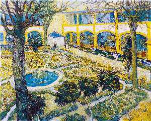 Vincent Van Gogh - El patio del hospital en Arles