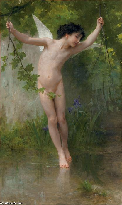 cupido volando sobre agua de William Adolphe Bouguereau (1825-1905, France)