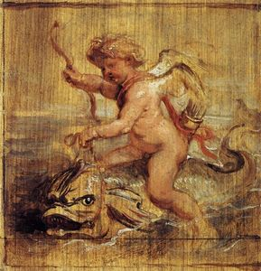 Peter Paul Rubens - cupido `riding` a delfín