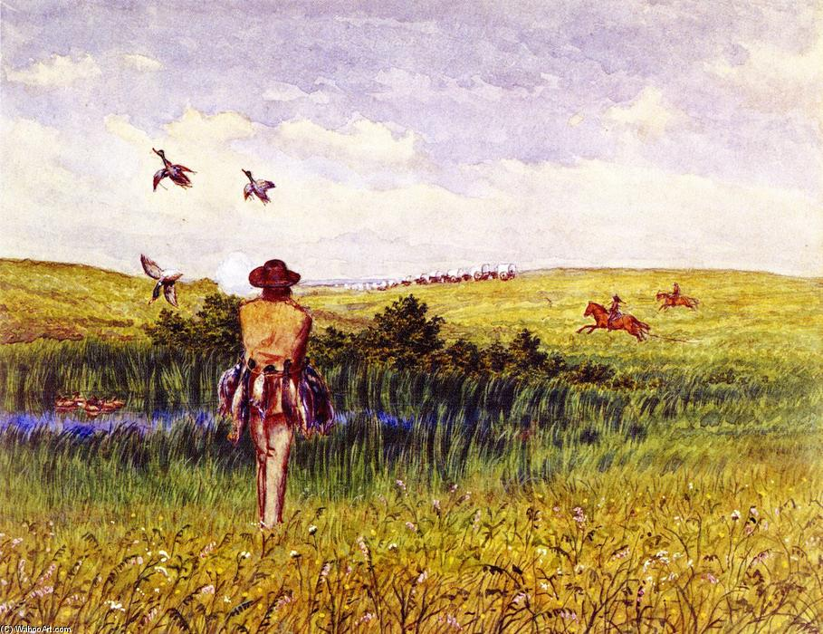 pato caza en el `prairie`, acuarela de William George Richardson ...