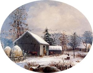 George Henry Durrie - Corral en invierno