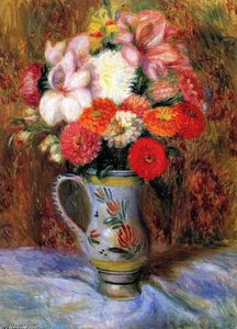 William James Glackens - flores en a `quimper` jarra