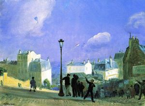 William James Glackens - Las cometas vuelan, Montmartre