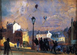 William James Glackens - Las cometas vuelan, Montmartre (estudio)
