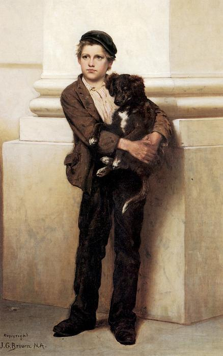 franco y sus perro, óleo sobre lienzo de John George Brown (1831-1913, United Kingdom)