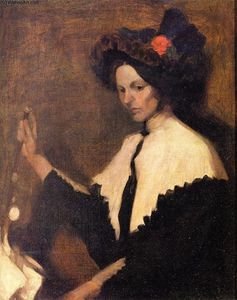 William James Glackens - Muchacha con el mantón blanco de cuello
