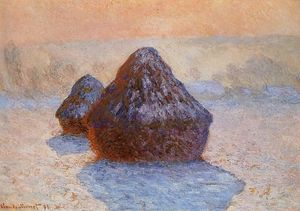 Claude Monet - Grainstacks, White Efecto Escarcha