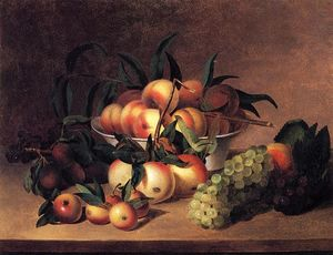 James Peale - Uvas , Apples and bowl of Melocotones
