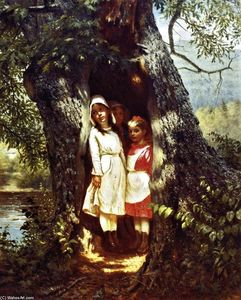 John George Brown - hiding` en el viejo roble