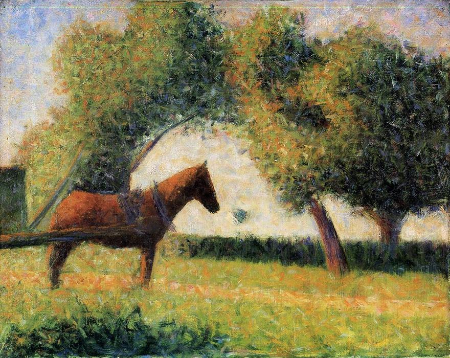 Caballo y el carro, óleo sobre lienzo de Georges Pierre Seurat (1859 ...