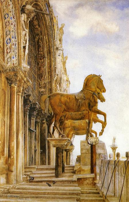los caballos of San . Mark's, acuarela de Henry Roderick Newman (1833-1918, United States)