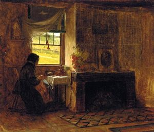 Jonathan Eastman Johnson - Interior de una granja casa en maine