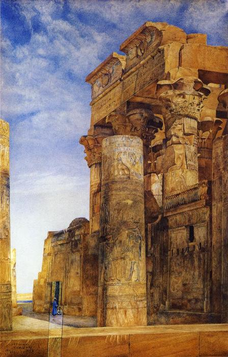 Kom Ombo, acuarela de Henry Roderick Newman (1833-1918, United States)