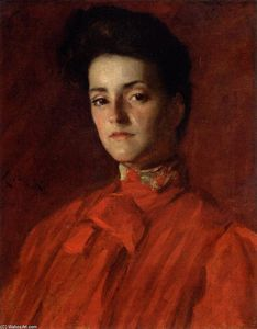 William Merritt Chase - Una dama de rojo