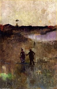 Charles Edward Conder - Paisaje con Dos Pequeña Cifras Richmond , new south Wales