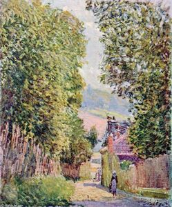 Alfred Sisley - a calle in Louveciennes