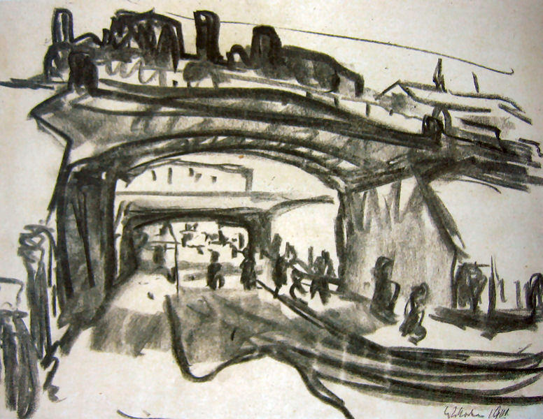 dos ferrocarril puentes in Dresden, tapicero de Ernst Ludwig Kirchner (1880-1938, Germany)