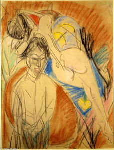 Ernst Ludwig Kirchner - hombre y desnudo mujer