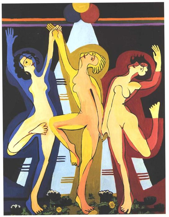 colorido baile de Ernst Ludwig Kirchner (1880-1938, Germany)