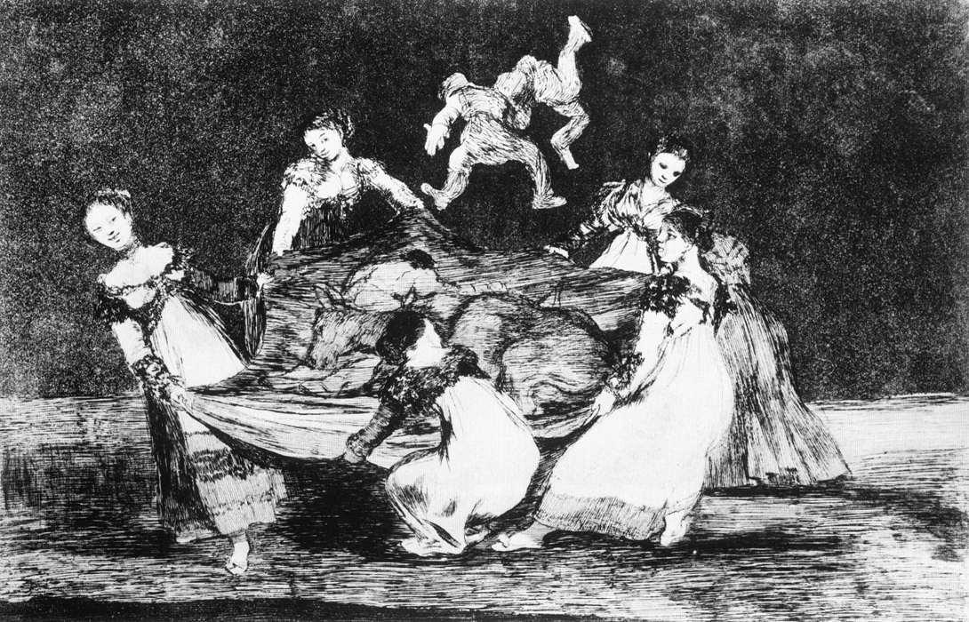 Locura Femenino, acuatinta de Francisco De Goya (1746-1828, Spain)