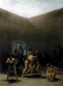 Francisco De Goya - el patio  todaclasede  Un  Manicomio