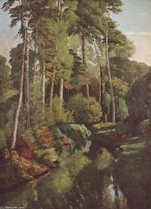 Gustave Courbet - Bosque Brook enestado  ciervos