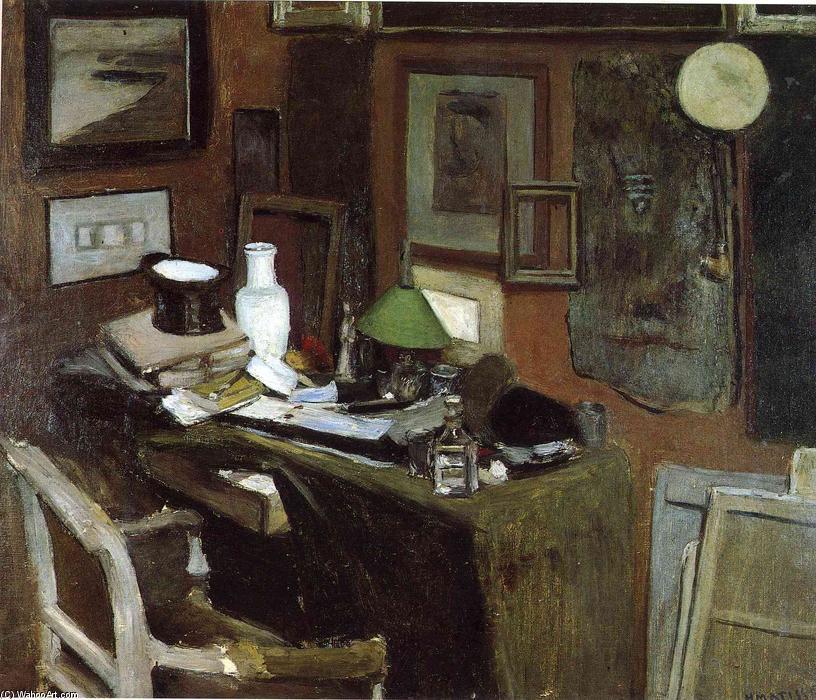interior con a parte superior sombrero, óleo sobre lienzo de Henri ...