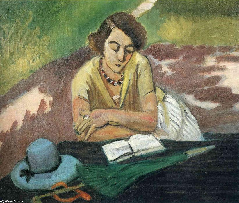 Lectura de la mujer con el parasol, óleo sobre lienzo de Henri ...