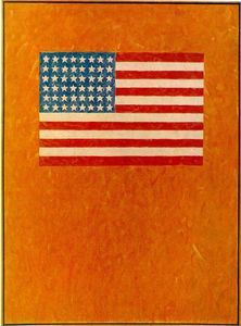Jasper Johns - bandera on orange campo