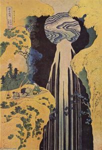 Katsushika Hokusai - El waterfall of Amida behind the Kiso Road