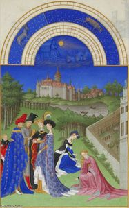 Limbourg Brothers - Abril: Cifras Courtly en los terrenos del castillo