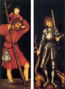 Lucas Cranach The Elder - De St christopher` y san Jorge