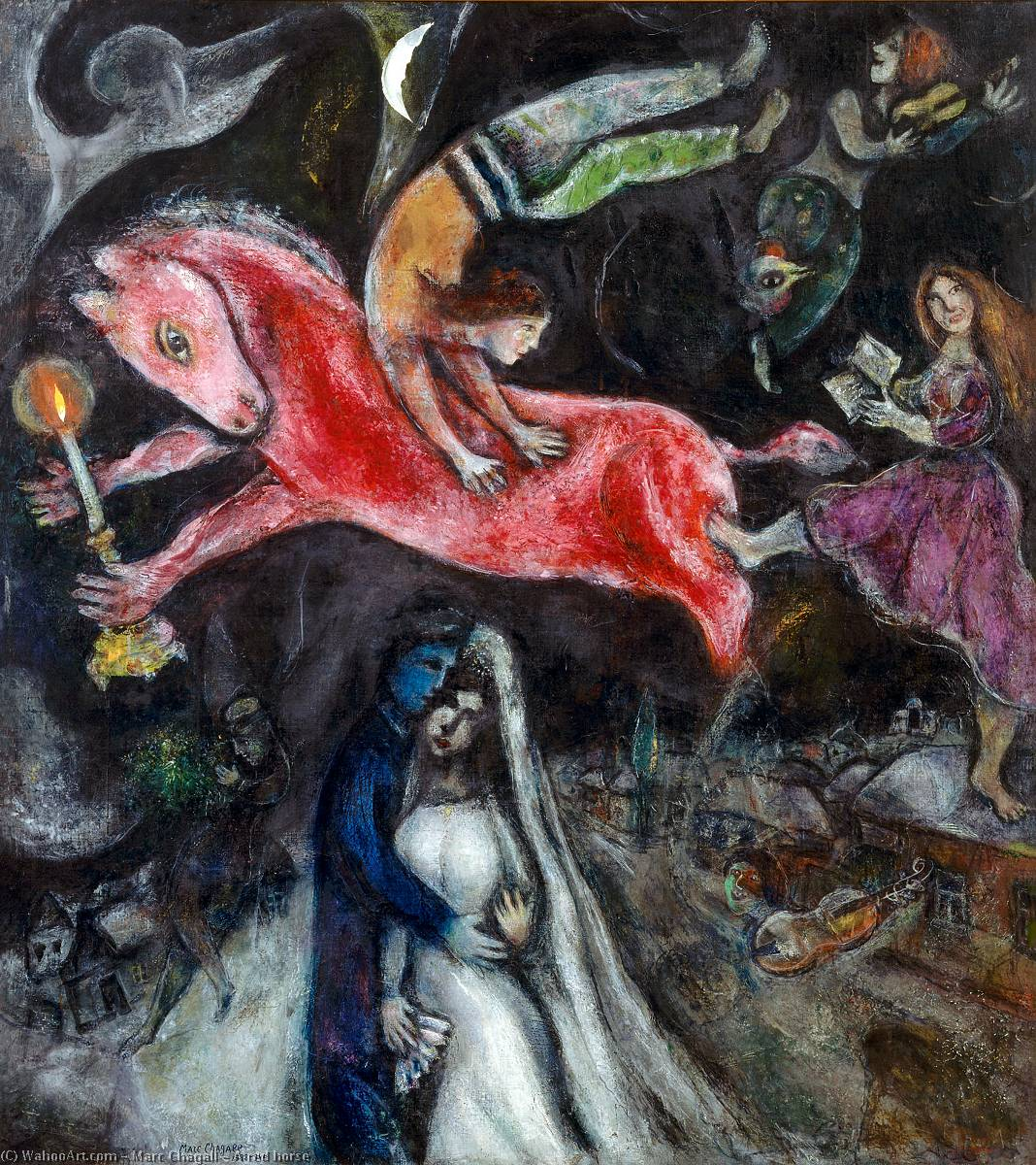a rojo caballo, óleo sobre lienzo de Marc Chagall (1887-1985, Belarus)
