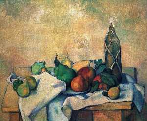 Paul Cezanne - Still vida , botella of rum